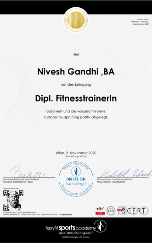 Nivesh Gandhi Dipl. Fitnesstrainer