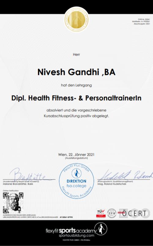 Nivesh Gandhi Dipl. Health Fitness & Personaltrainer
